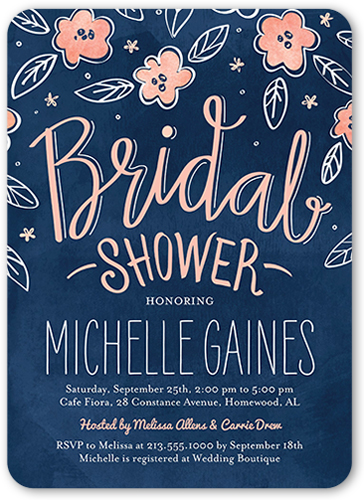 Sweet Blooming Bride Bridal Shower Invitation, Rounded Corners