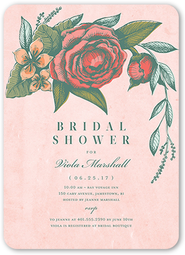 Vintage Beauty Bridal Shower Invitation, Rounded Corners