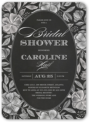 Chalk Florals Bridal Shower Invitation, Rounded Corners