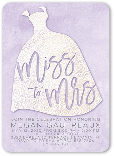 Flower Gown Bridal Shower Invitation, Rounded Corners
