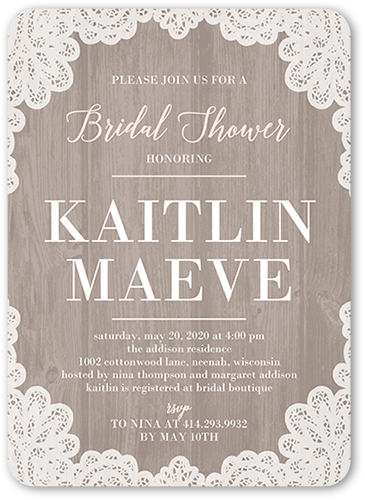 Lacy Border Bridal Shower Invitation, Rounded Corners