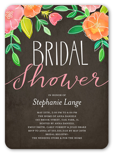 Printed Garden Bridal Shower Invitation, Rounded Corners