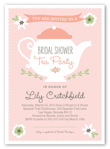 Charming Teapot Bridal Shower Invitation, Square Corners