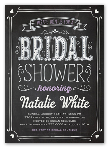 Chalked Frame Bridal Shower Invitation by Yours Truly