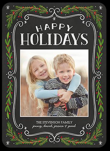 Chalk Swirled Frame Holiday Card, Square