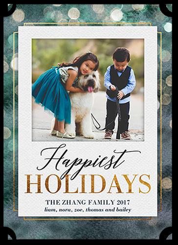 Bokeh Greetings Holiday Card, Ticket Corners