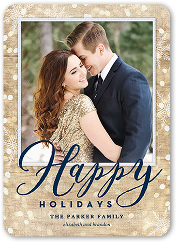 Woodgrain Bokeh Holiday Card