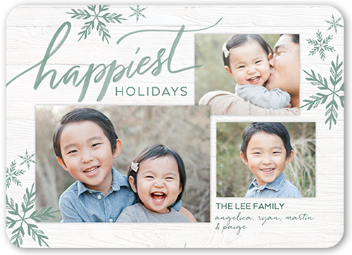 Classic Big Flurries Holiday Card, Rounded Corners