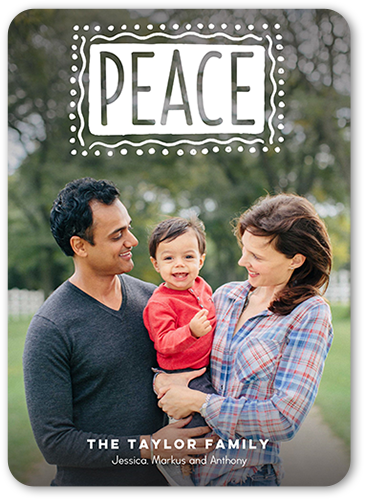 Bold Peace Holiday Card, Rounded Corners