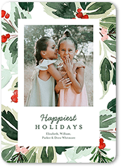 holiday holly frame holiday card