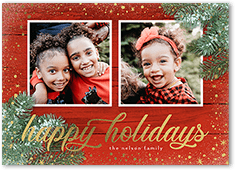 floral star corners holiday card