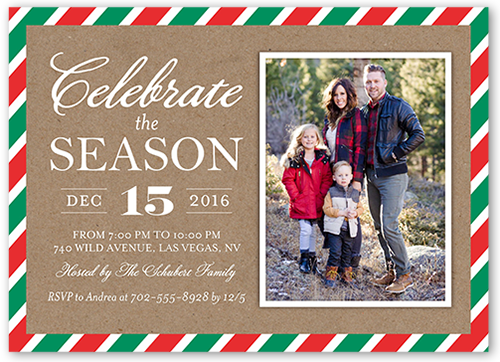 Bright Striped Border Holiday Invitation