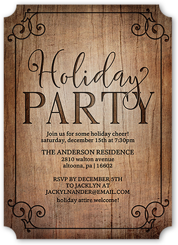 Rustic And Flourished Holiday Invitation