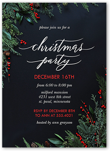 Festively Elegant Holiday Invitation