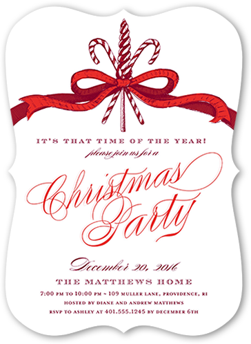 Candied Ribbon Holiday Invitation