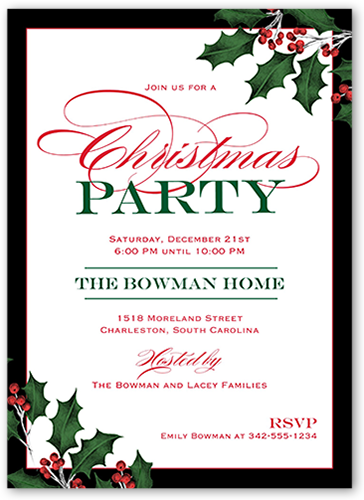 Holly Berries Holiday Invitation