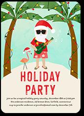 tropical santa holiday invitation