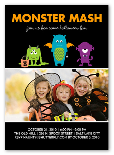 Monster Mash Halloween Invitation, Square Corners