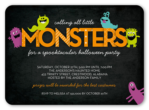 Mini Monsters Halloween Invitation, Rounded Corners