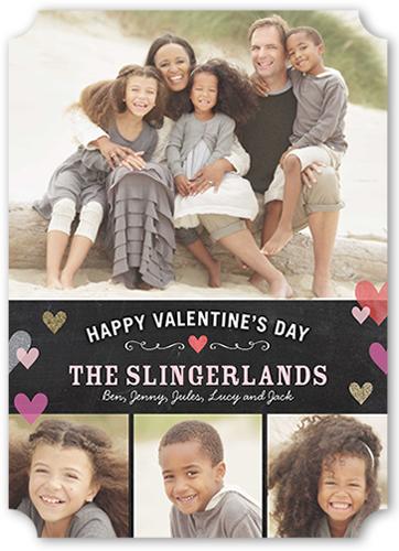 Chalkboard And Hearts Valentine's Card, Ticket Corners