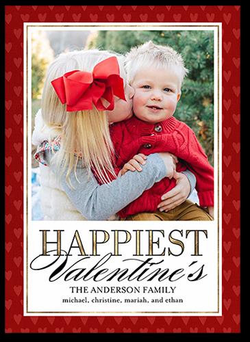 Elegant Hearts Valentine's Card, Square Corners