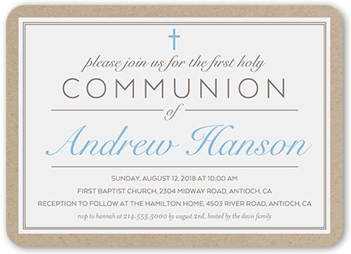 Holy Elegance Boy Communion Invitation, Rounded Corners
