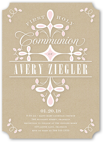 Swirled Ritual Girl Communion Invitation, Ticket Corners