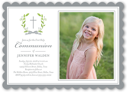 Simple Purification Communion Invitation, Scallop Corners