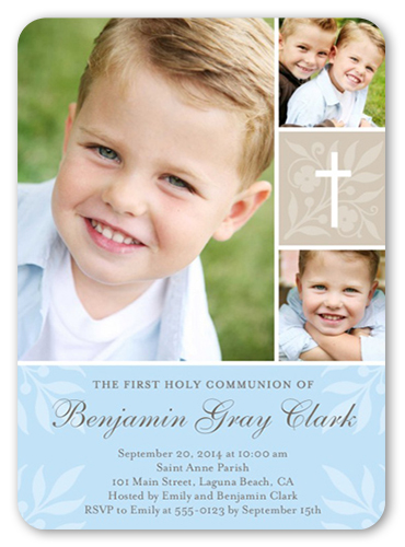 Floral Cross Boy Communion Invitation, Square