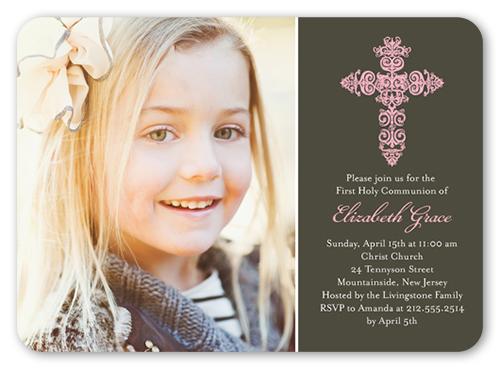 Gaelic Cross Girl Communion Invitation, Rounded Corners