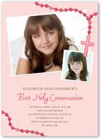 prayer beads girl communion invitation 5x7 flat