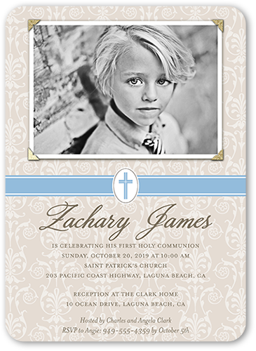 Faithful Damask Boy Communion Invitation, Rounded Corners