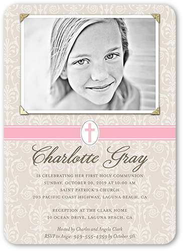 Faithful Damask Girl Communion Invitation, Rounded Corners