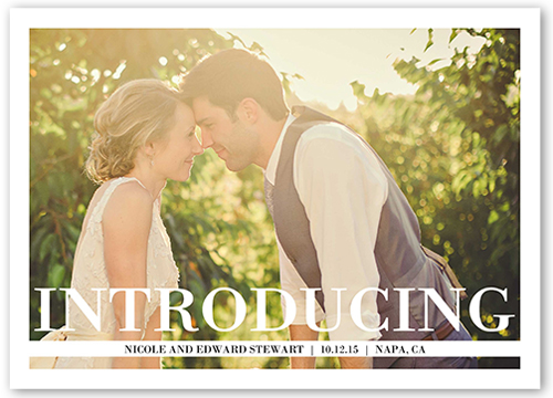 Large Introduction Wedding Announcement, Square Corners