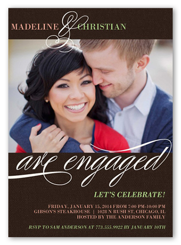 We Are Engaged Engagement Party Invitation, Square Corners