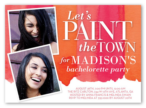 Paint The Town 5x7 Card Bachelorette Party Invitations – Red Party Invitations