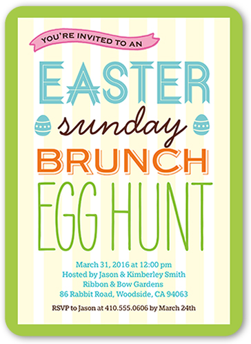Sunday Brunch Easter Invitation, Rounded Corners