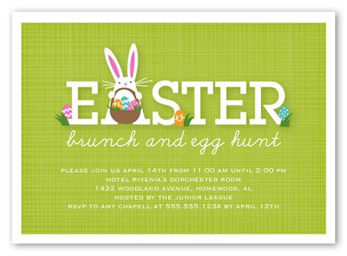 Bunny Brunch 5x7 Invitation Card Easter Invitations – Easter Invitation Cards