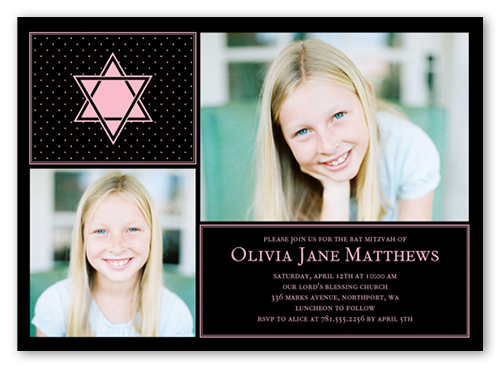Standout Star Girl Bat Mitzvah Invitation, Square Corners
