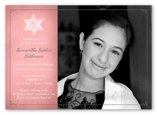 Star Rose Girl Bat Mitzvah Invitation, Square Corners