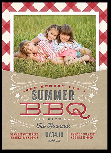 BBQ Holiday Summer Invitation, Square Corners