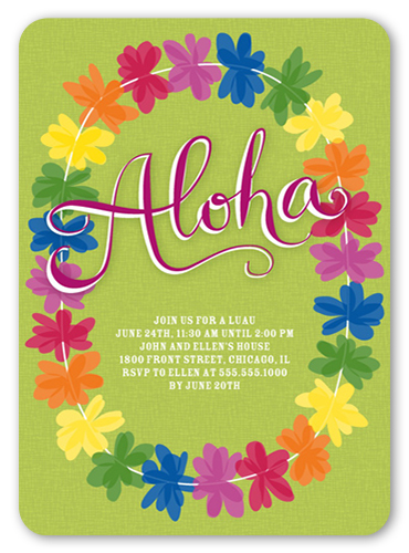 Colorful Lei Summer Invitation, Rounded Corners