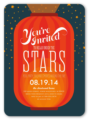 Under The Stars Summer Invitation, Rounded Corners