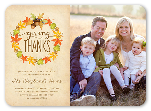 Acorn Wreath Fall Invitation, Rounded Corners
