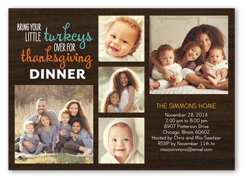 Little Turkeys Fall Invitation, Square