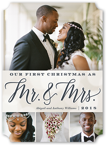Elegant Couple Christmas Card, Ticket Corners