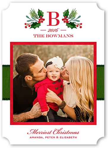 Gilded Family Monogram Christmas Card