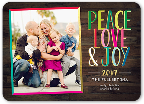 Colorful Peace And Love Christmas Card, Rounded Corners