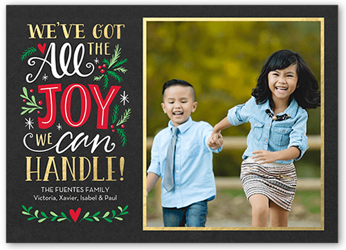 5x7 all the joy personalized christmas cards greeting card front m4hsunfo