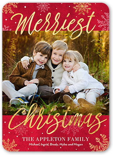 Rustic Scripted Merry Christmas Card, Rounded Corners